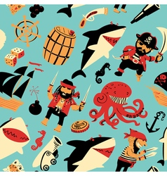 Nautical pattern witpirates and sharks nautical vector