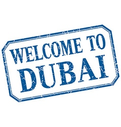 Dubai - welcome blue vintage isolated label vector
