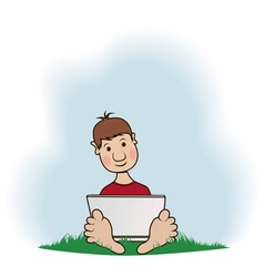 A boy with a notebook sits on a grass vector