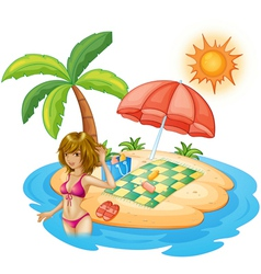 A lady with a pink swimsuit at the beach vector image vector image