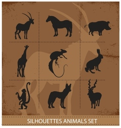 abstract symbols of animals silhouette vector image vector image