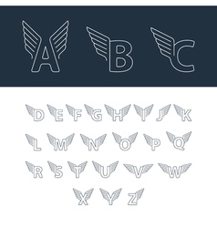 Alphabet letters with wings vector