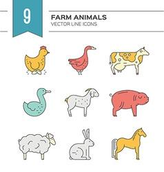 Animals on farm vector