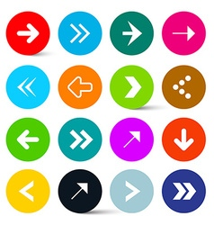 Arrows set in colorful circles perfect for web vector