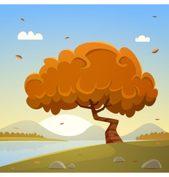 Autumn countryside cartoon landscape vector
