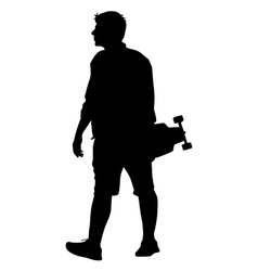 Black silhouettes man with skateboard in hand on vector