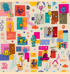 Cartoon characters fun seamless pattern vector