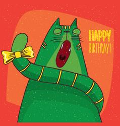 Cat yawns and inscription happy birthday vector