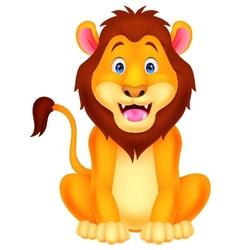 Cute lion cartoon sitting vector image vector image