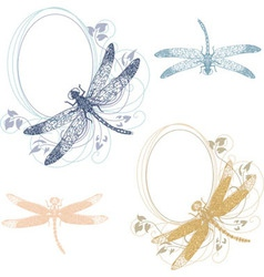dragonfly pastel frames vector image vector image