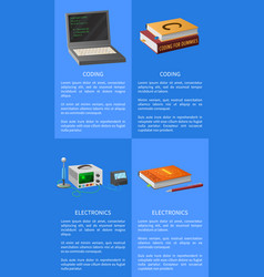 electronics and coding lessons promotional poster vector image