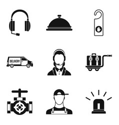 Enterprise support icons set simple style vector
