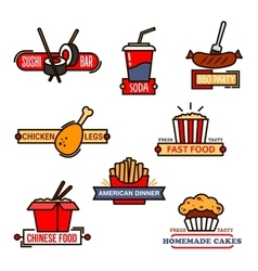 Fast food sushi bar and bakery icons vector