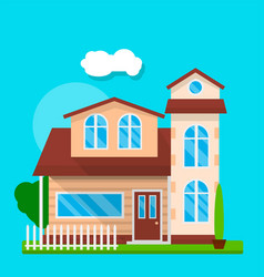 front of cute house vector image vector image