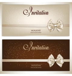 Gorgeous gift cards with white bows and copy space vector image