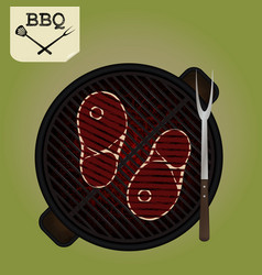Grilling steaks on grill - top view vector