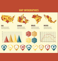 Infographics elements set with collection maps of vector