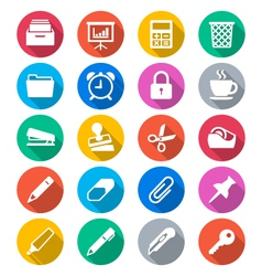 Office supplies flat color icons vector image