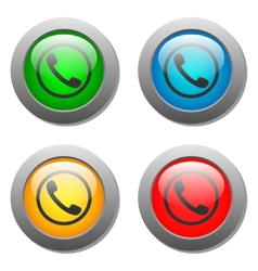 Phone handset icon glass button set vector