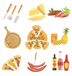 Pizza Ingredients And Cooking Utensils Collection vector image vector image