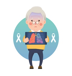 Senior Man have Lung Cancer Ribbon Awareness vector image