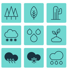 Set of 9 landscape icons includes plant raindrop vector