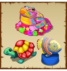 Three colorful figurines of sea creatures vector