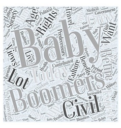 Wants of baby boomers word cloud concept vector