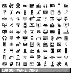 100 software icons set in simple style vector