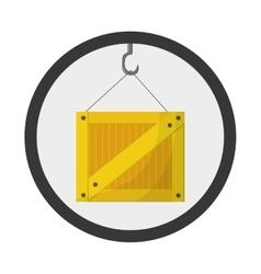 Crane hook with box icon vector