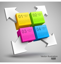 Colorful cubes with arrows 3d vector