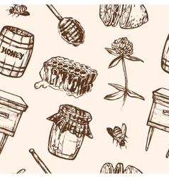 Seamless pattern with honey elements jar spoon vector