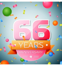 Sixty six years anniversary celebration background vector