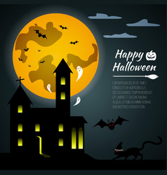 Halloween black castle on yellow moon background vector