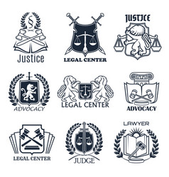 Law firm lawyer office legal center icon design vector