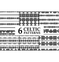 Celtic knot seamless black and white pattern set vector