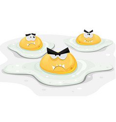Angry fried chicken eggs vector