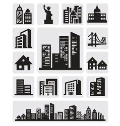 Cities silhouette icon vector