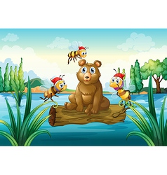 A bear riding on a trunk floating in the river vector