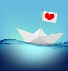 Flag with a red heart on a paper boat vector