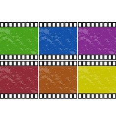 Six different color of movie slide vector