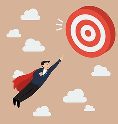 Businessman super hero fly to big target vector