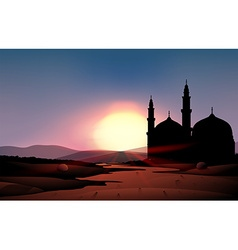 Nature scene with mosque during sunset vector