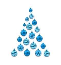 Christmas abstract tree made in blue glass balls vector