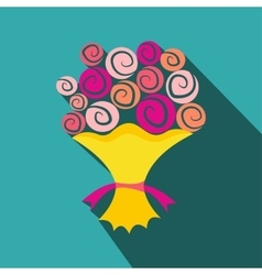 Bouquet of flowers flat icon vector