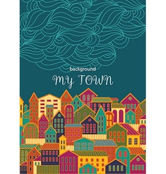 Background with colorful town vector
