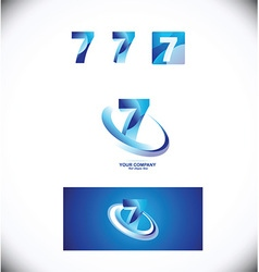Number seven 7 logo icon set vector