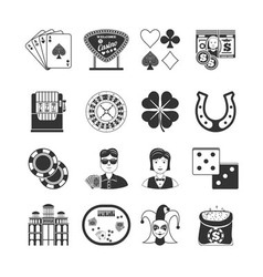Casino black icons set vector