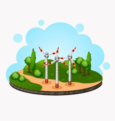Ecology concept wind driven generators on the vector