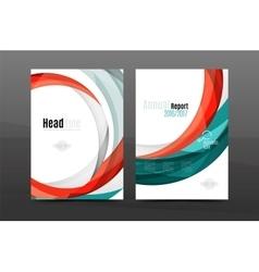 Colorful swirl design annual report cover template vector